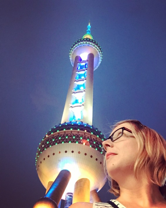 me looking up at the Pearl TV Tower
