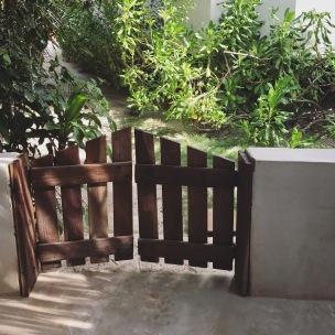 patio gate to the villa