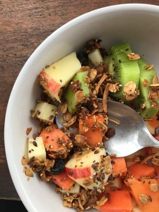 fresh fruit and granola breakfast appetizer